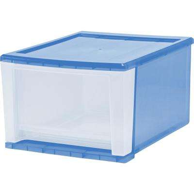 12.05 in. x 8.39 in. 17 Qt. Navy Blue Stacking Drawer