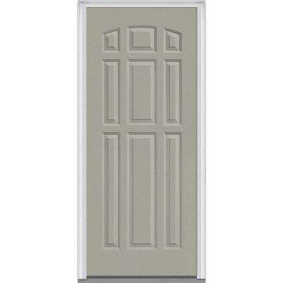 36 in. x 80 in. Right-Hand Inswing 9-Panel Classic Painted Fiberglass Smooth Prehung Front Door
