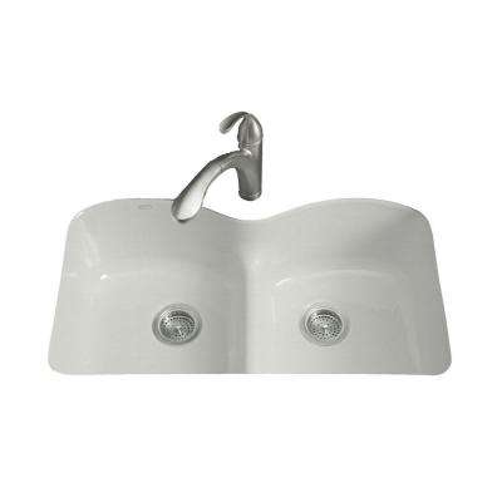 Langlade Smart Divide Undermount Cast-Iron 33 in. 6-Hole Double Basin Kitchen Sink in Sea Salt