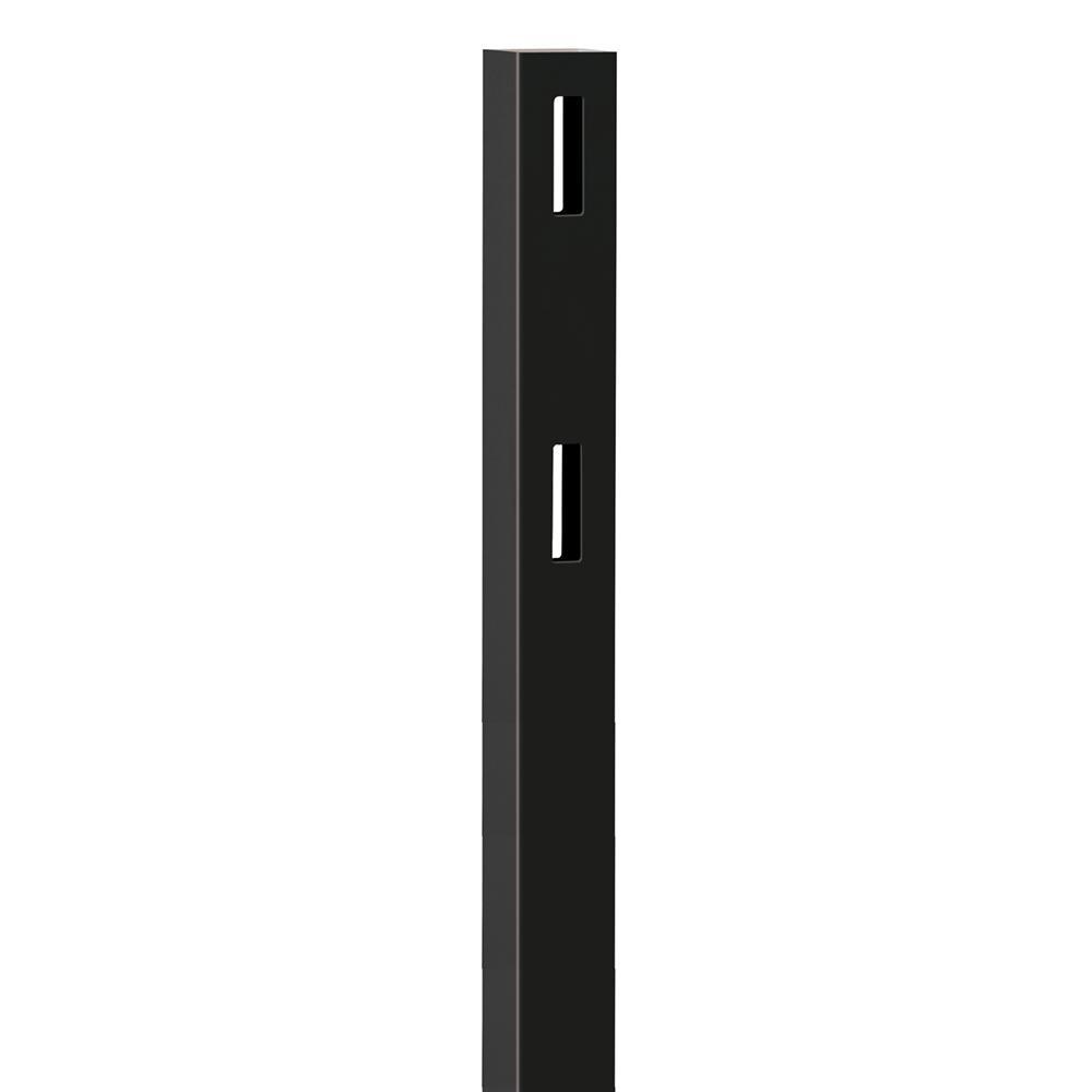 5 in. x 5 in. x 5 ft. Black Vinyl Ranch 2-Rail Line Post