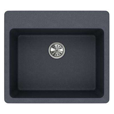 Quartz Classic Drop-In Composite 25 in. Single Bowl Kitchen Sink in Dusk Gray