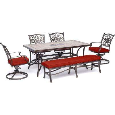 Monaco 6-Piece Aluminum Outdoor Dining Set with Red Cushions 4 Swivel Rockers, 1 Bench, Title Table