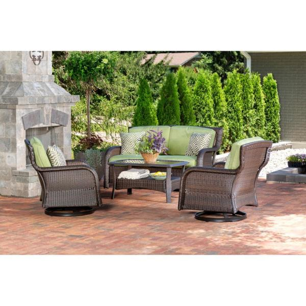 Strathmere 4-Piece Wicker Patio Sectional Seating Set with Cilantro Green Cushions