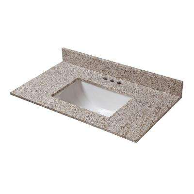 31 in. W x 19 in. D Granite Vanity Top in Golden Hill with White Trough Sink
