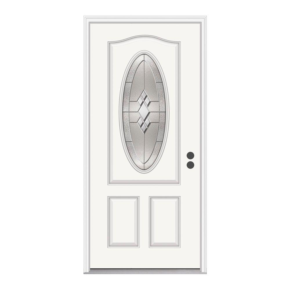 Jeld wen 36 in x 80 in 3 4 oval lite kingston white for Jeld wen front entry doors