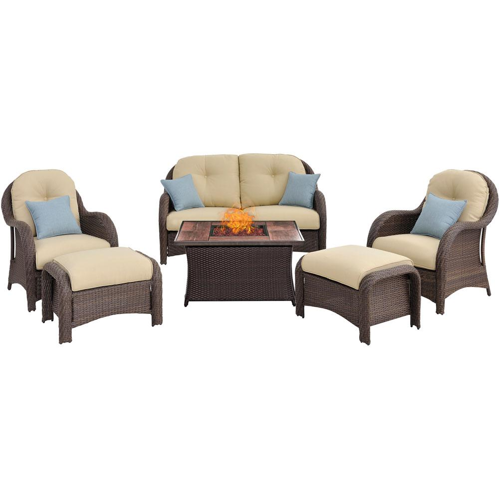 Newport 6-Piece Woven Patio Seating Set with Wood Grain-Top Fire Pit