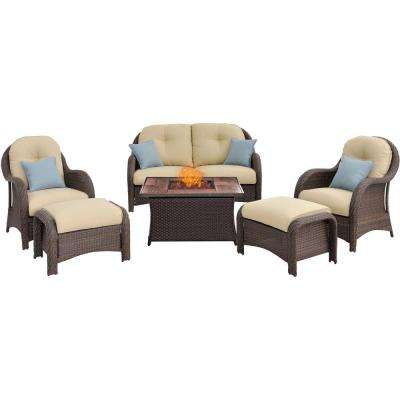 Newport 6-Piece Woven Patio Seating Set with Wood Grain-Top Fire Pit with Cream Cushions