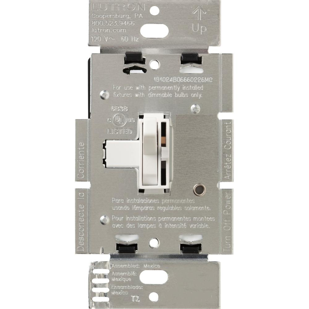 Lutron Toggler 600-Watt 3-Way Dimmer with Night Light, White