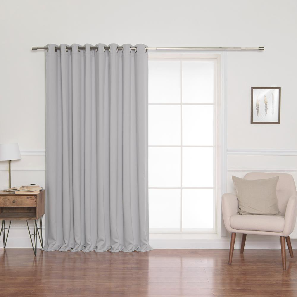 100 In X 84 In Flame Retardant Blackout Curtain Panel In Grey
