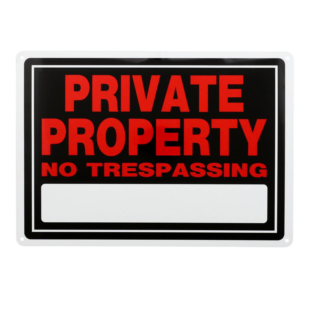 Everbilt 10 in. x 14 in. Aluminum Private Property Sign