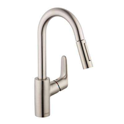Focus Prep Single-Handle Pull-Down Sprayer Kitchen Faucet in Steel Optik