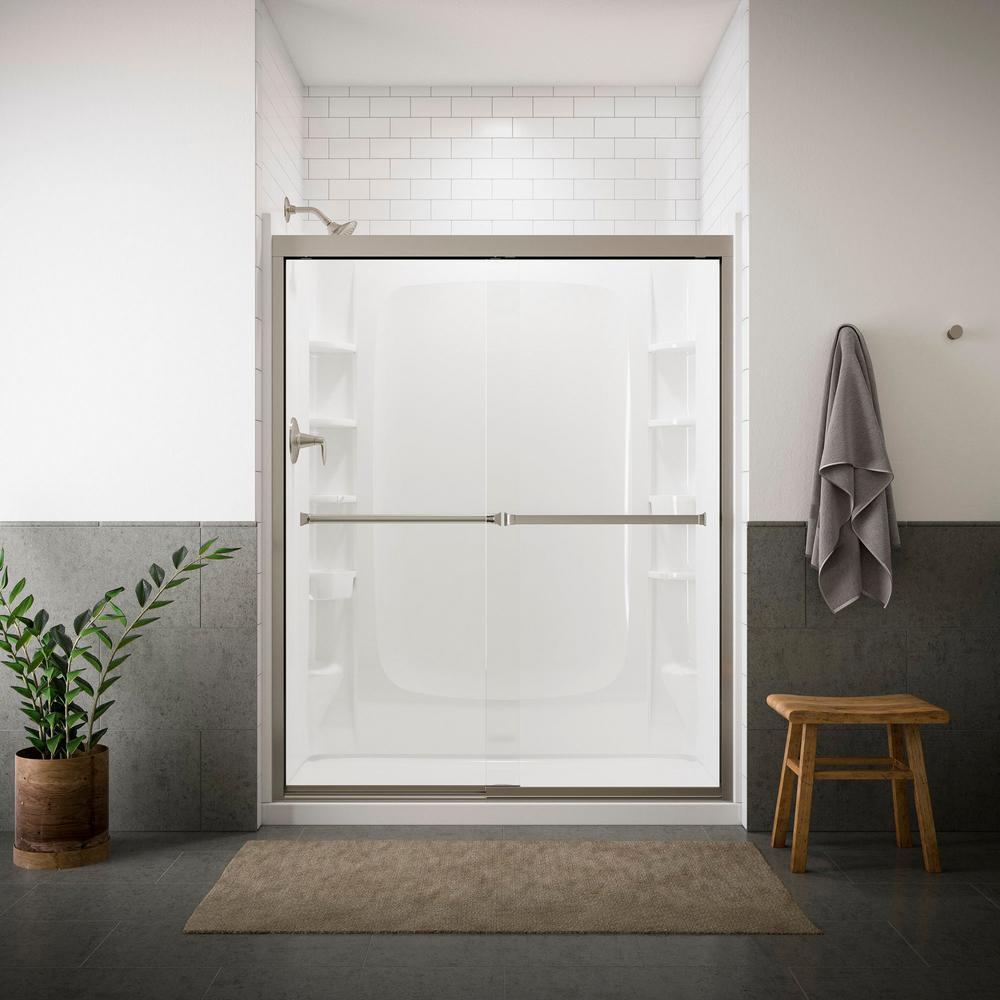 Meritor 59-3/8 in. x 69-11/16 in. Semi-Framed Sliding Shower Door in Nickel with Handle