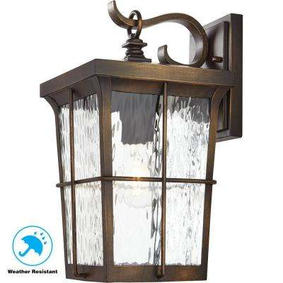 1-Light Golden Bronze Outdoor 7.5 in. Wall Mount Lantern with Clear Water Glass