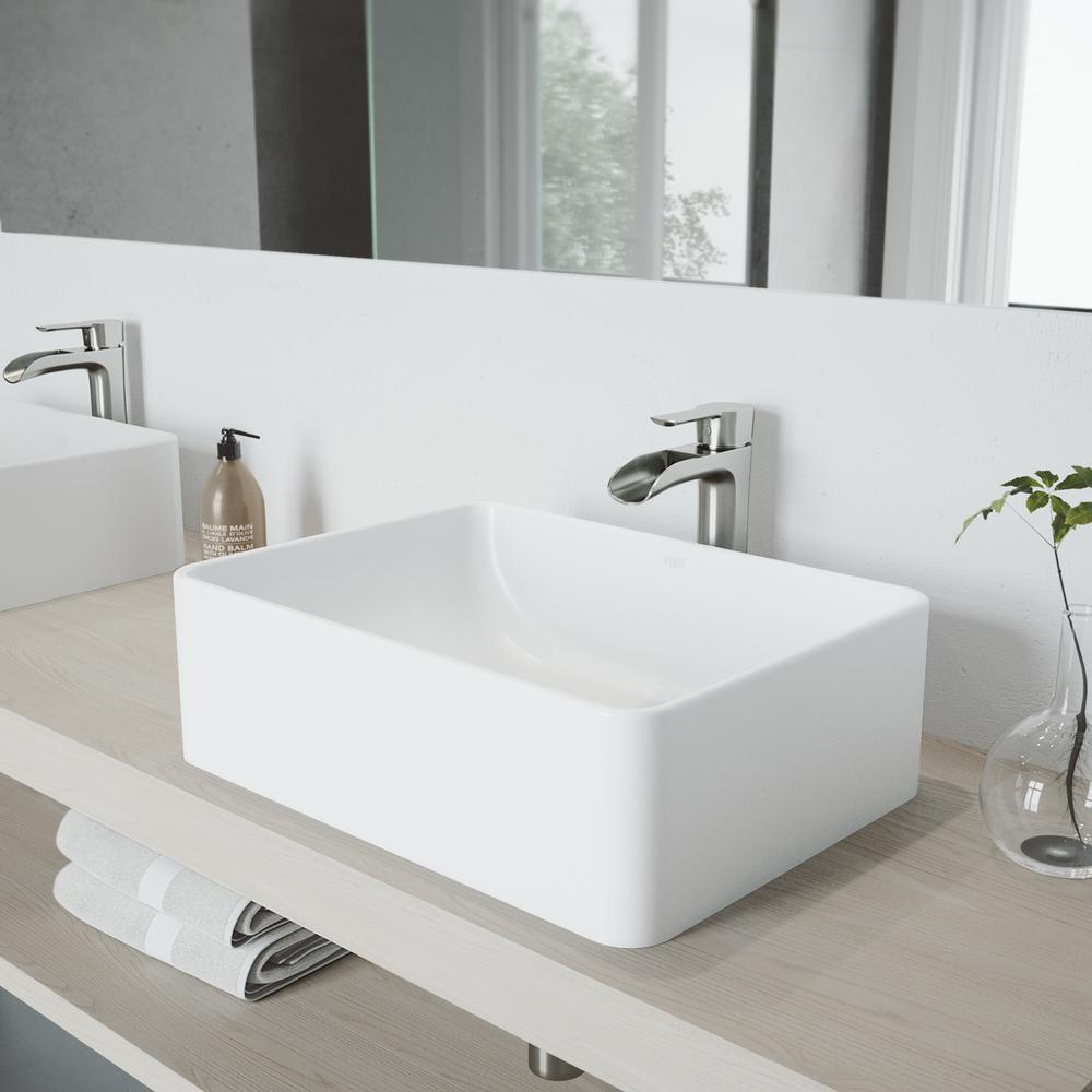 Beau VIGO AmaryllisMatte Stone Vessel Sink And Brushed Nickel Niko Faucet Set  With Pop Up Drain