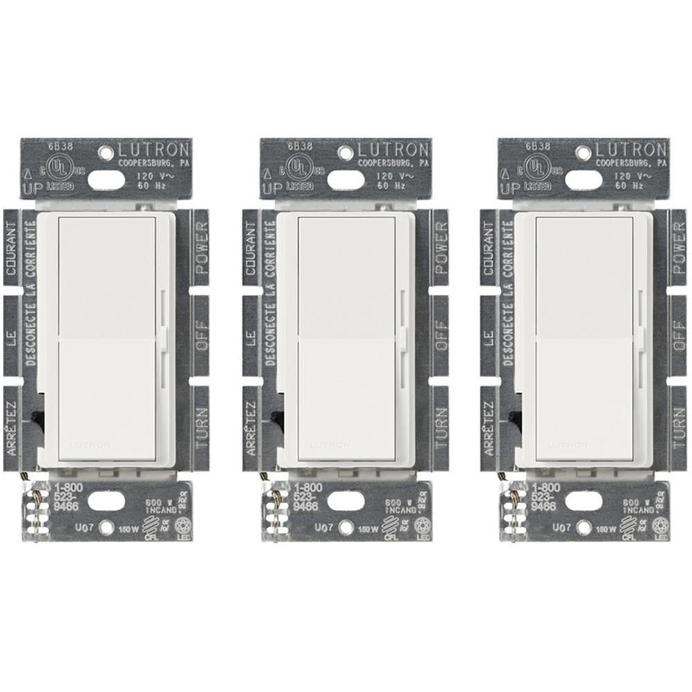 Diva 150-Watt Single-Pole/3-Way LED/CFL Dimmer, White (3-Pack)
