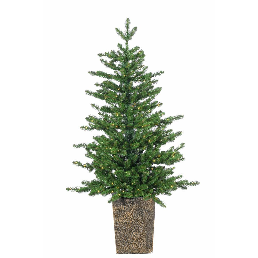 Christmas Tree Pot: STERLING 4 Ft. Pre-Lit Potted LED Artificial Christmas