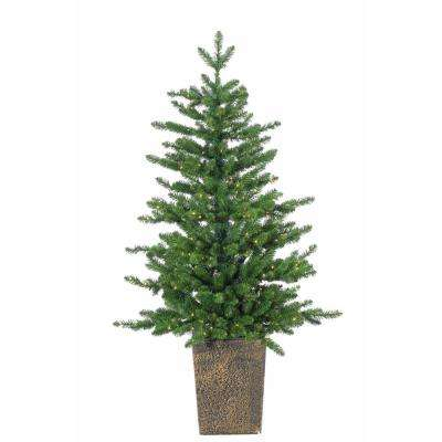 4 ft. Pre-Lit Potted LED Artificial Christmas Akron Pine Tree with Micro Lights