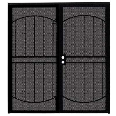 72 in. x 80 in. Arcada Black Surface Mount Outswing Steel Double Security Door with Expanded Metal Screen