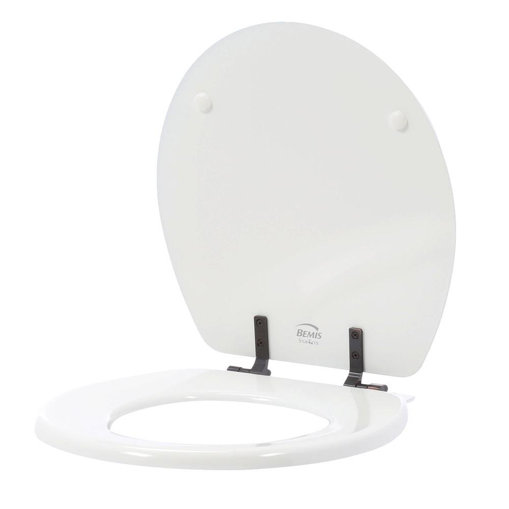 bemis sta tite round closed front toilet seat in white with oil rubbed bronze metalbemis sta tite round closed front toilet seat in white with oil