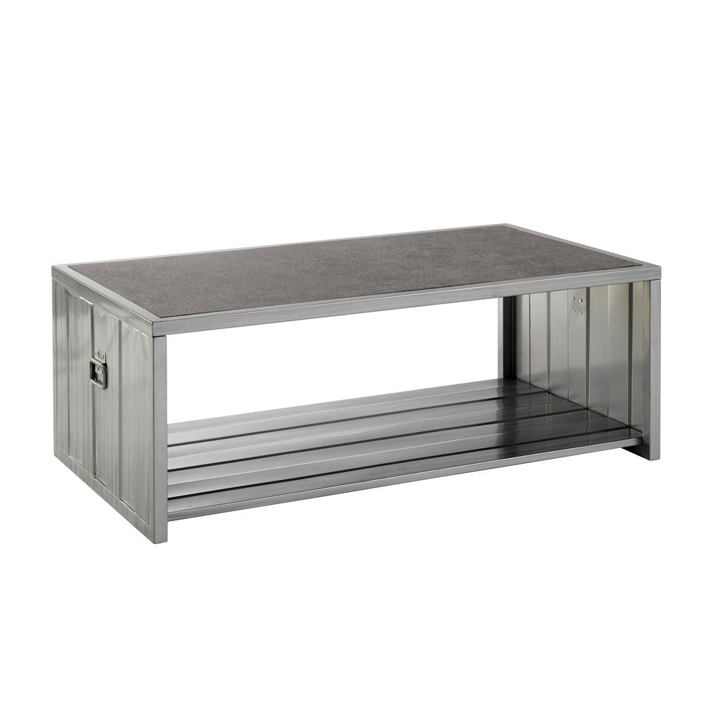 Furniture Of America Lispen Hand Brushed Silver Coffee Table