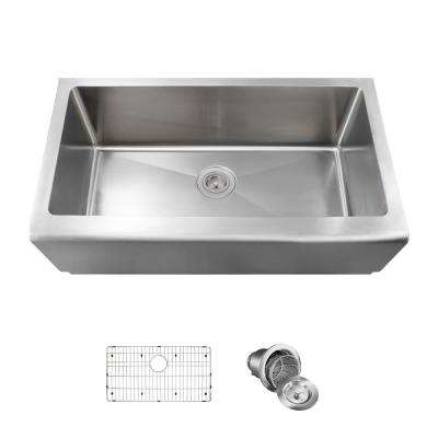 All-in-One Farmhouse Apron Front Stainless Steel 32-3/4 in. Single Bowl Kitchen Sink