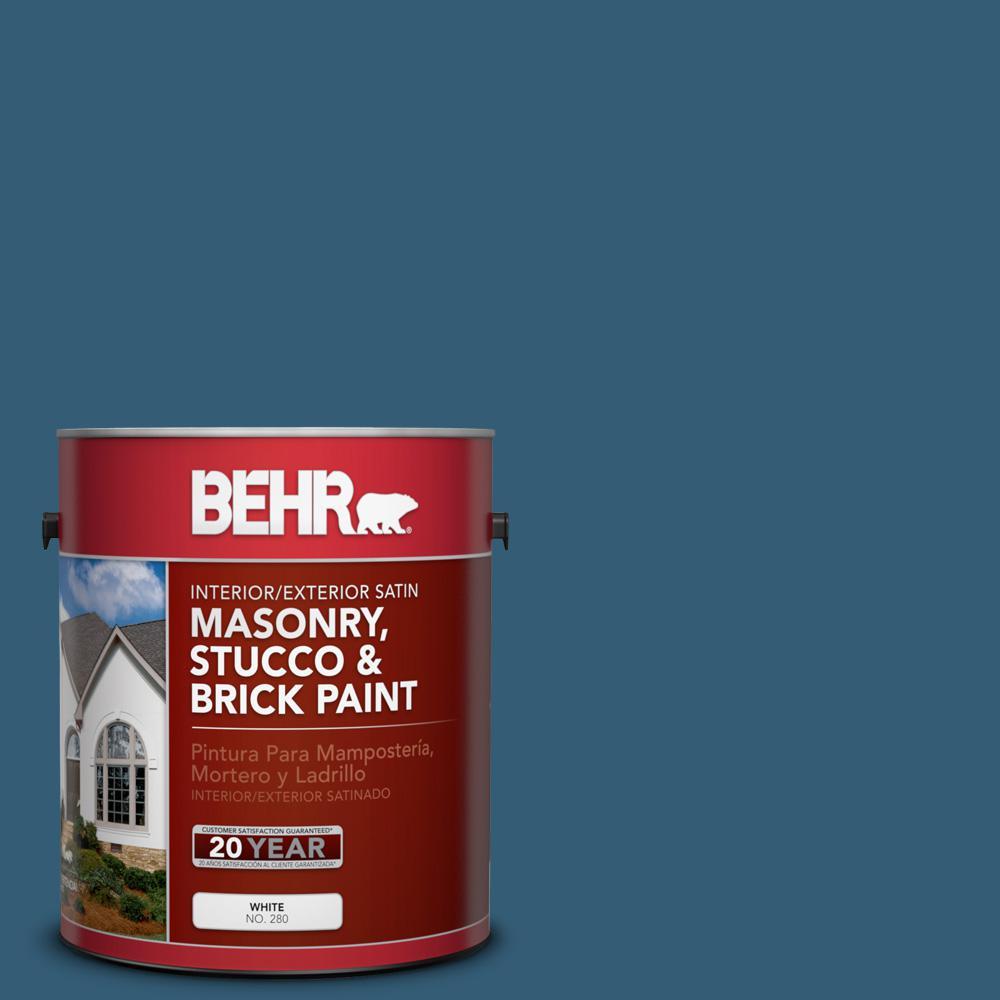 1 gal. #M490-7 Shasta Lake Satin Interior/Exterior Masonry, Stucco and Brick Paint