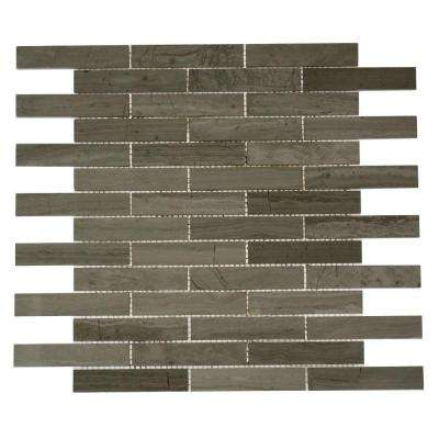 Big Brick Wooden Beige 12 in. x 12 in. x 8 mm Mosaic Marble Floor and Wall Tile