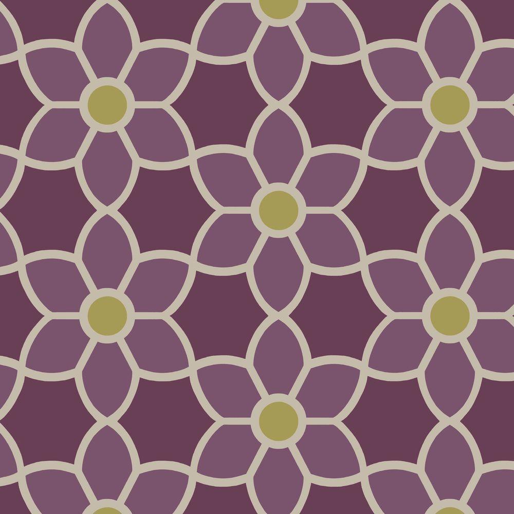 Blossom Purple Geometric Floral Wallpaper