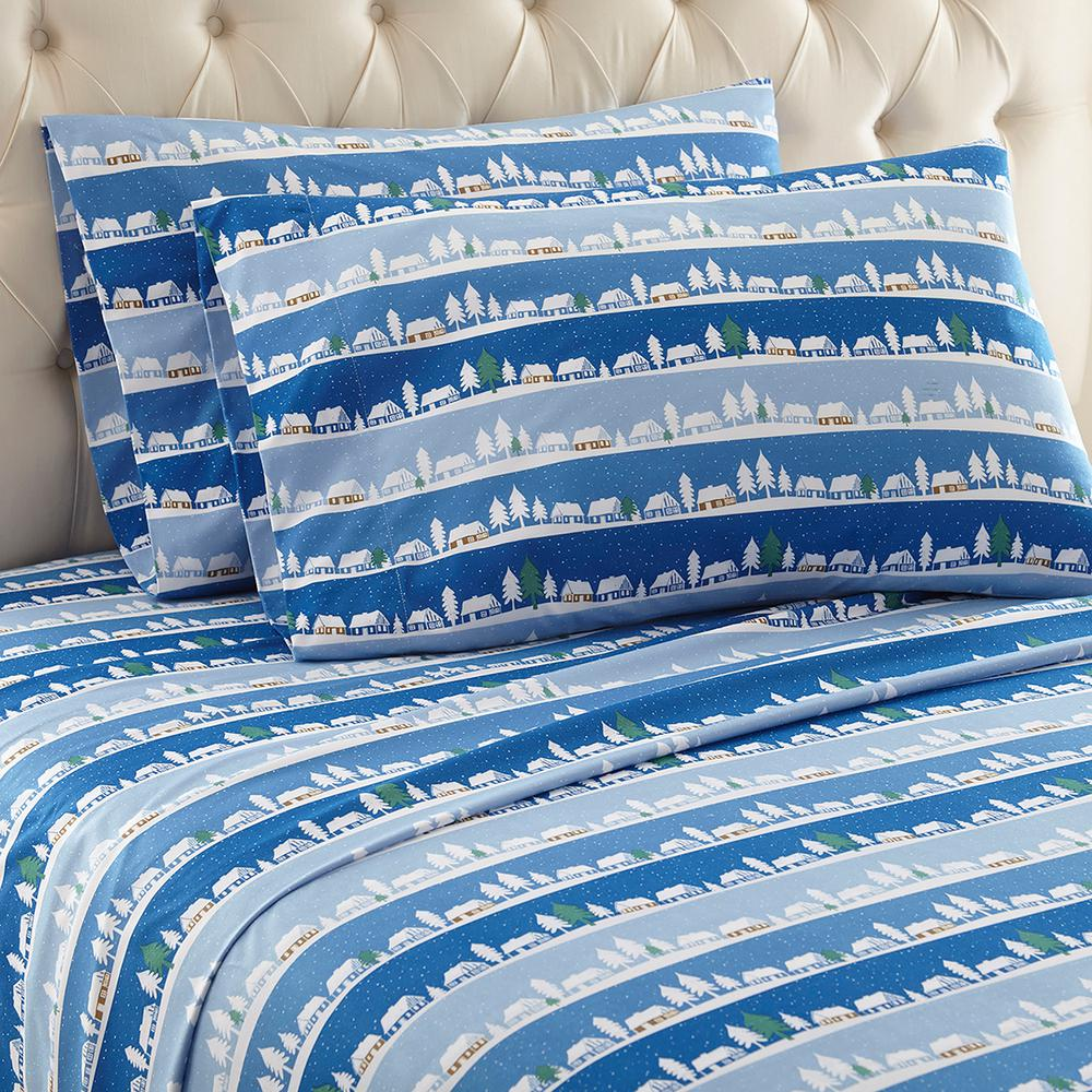 Micro Flannel 4 Piece Winter Village Full Polyester Sheet