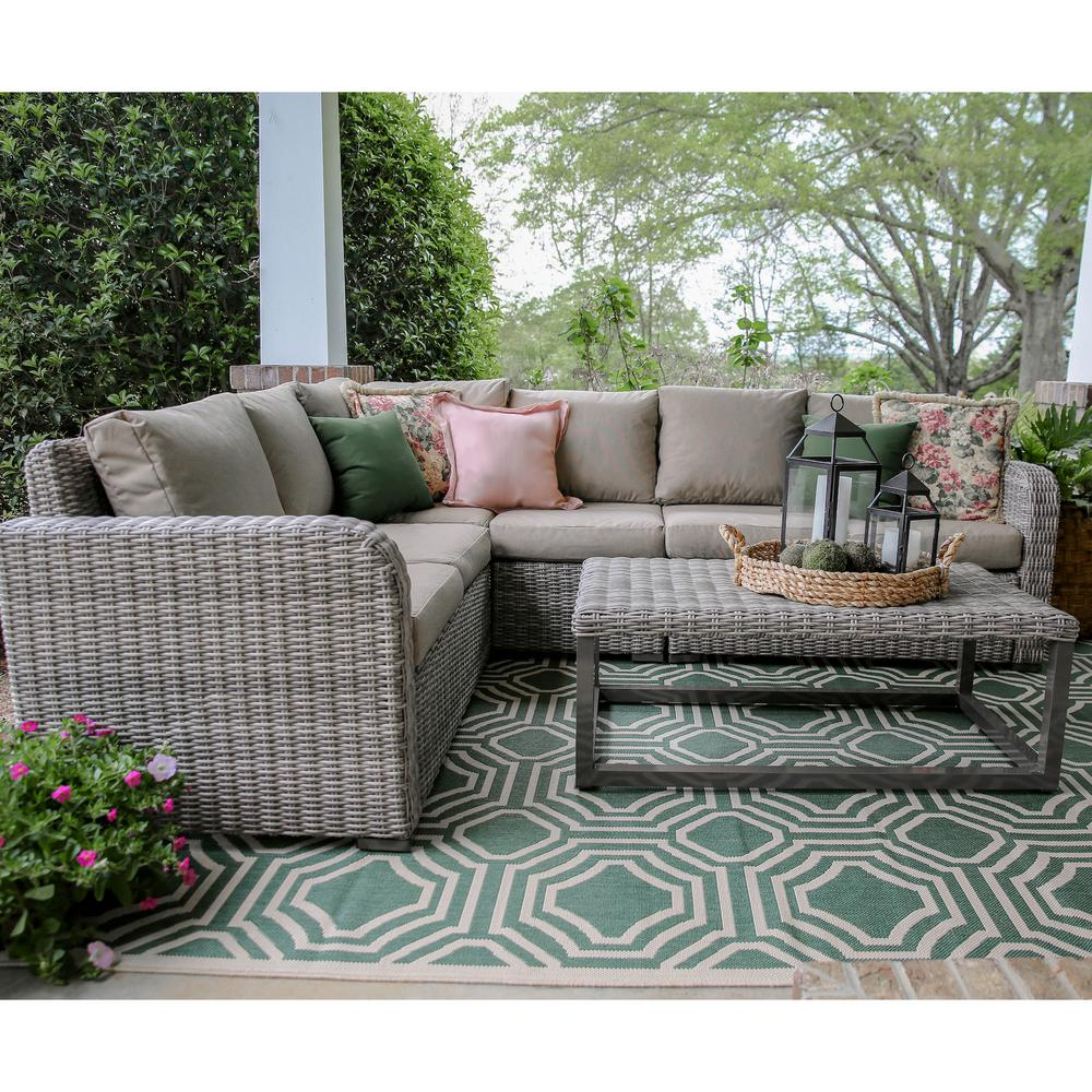 Forsyth 5-Piece Wicker Outdoor Sectional Set with Tan Cushions