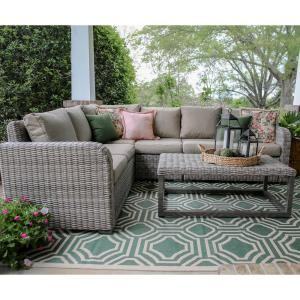 Forsyth 5-Piece Wicker Outdoor Sectional Set with Tan Cushions by