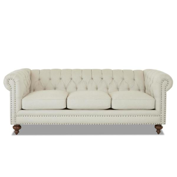 Blakely 95 in. Max Buff Microfiber 3-Seater Chesterfield Sofa with Removable Cushions
