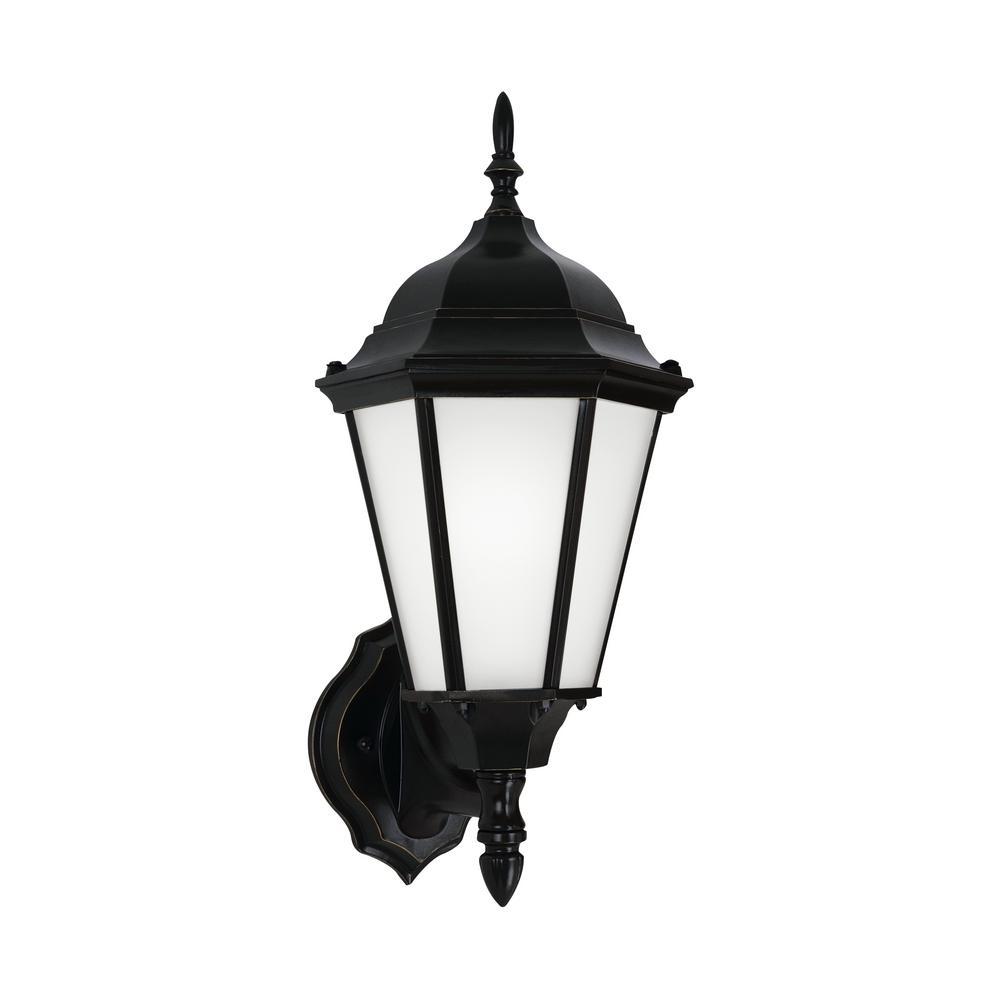Bakersville 1-Light Medium Black Outdoor 17 in. Wall Mount Lantern