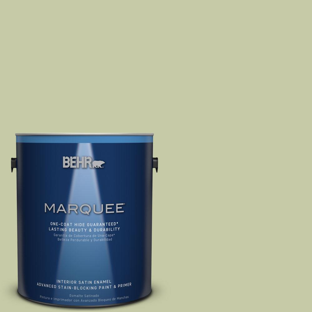 1 gal. #M350-3 Sap Green One-Coat Hide Satin Enamel Interior Paint