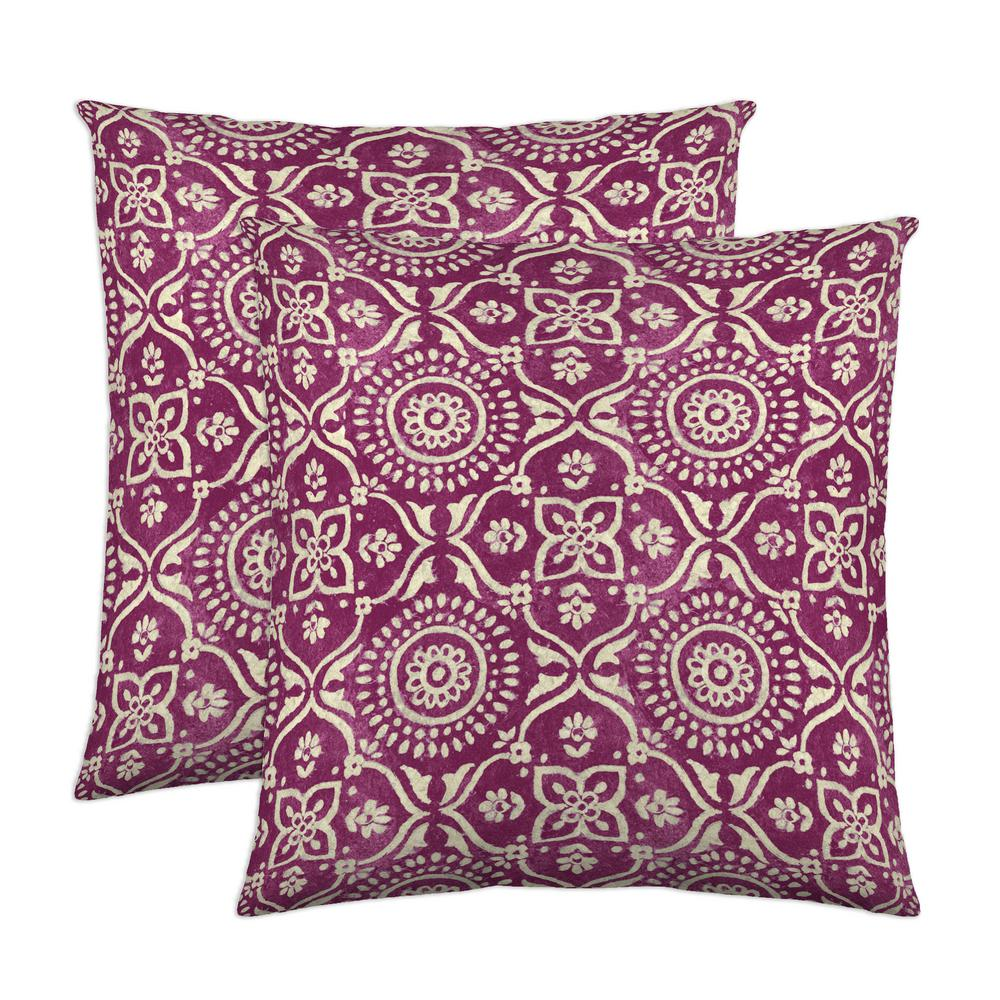 Adara 18 in. x 18 in. Fuchsia Decorative Pillow (2-Pack)