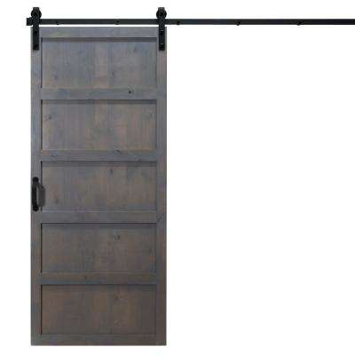 36 in. x 84 in. 5-Panel Ash Gray Alder Wood Interior Barn Door Slab with Sliding Door Hardware Kit