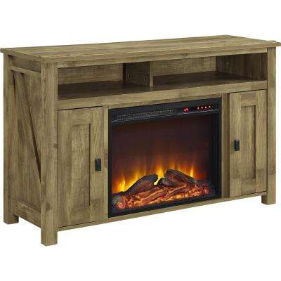 Brownwood Light Pine 50 in. Media Stand with Fireplace