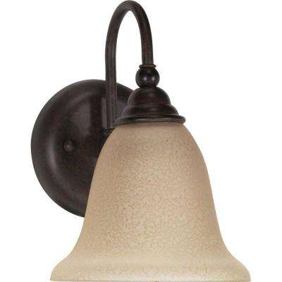 Ophelia 1-Light Old Bronze Bath Vanity Light with Amber Water Glass