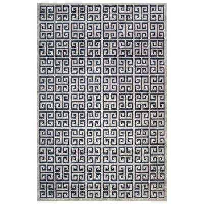 Machine Made Dress Blues 2 ft. x 3 ft. Trellis and Chain Accent Rug