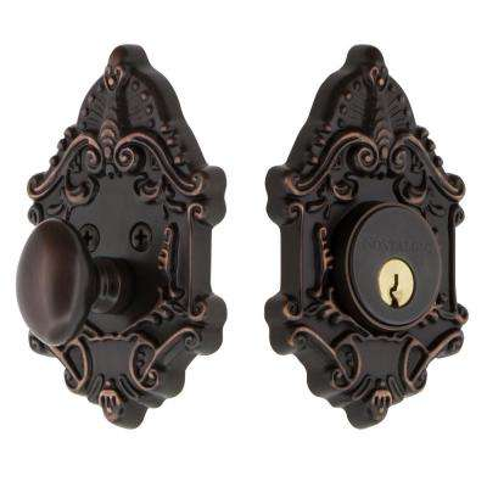 Victorian Plate 2-3/4 in. Timeless Bronze Backset Single Cylinder Deadbolt