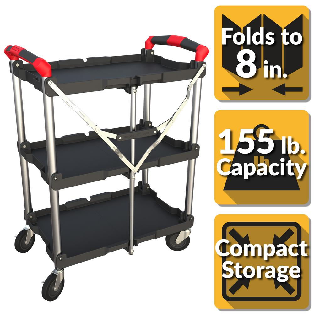 Black Shamdon Home Collection 3-Tray Service Utility Cart,Heavy Duty Rolling Service//Utility//Push Cart with Aluminum Legs /& Wheels,330 lbs for Foodservice//Restaurant//Cleaning Capacity