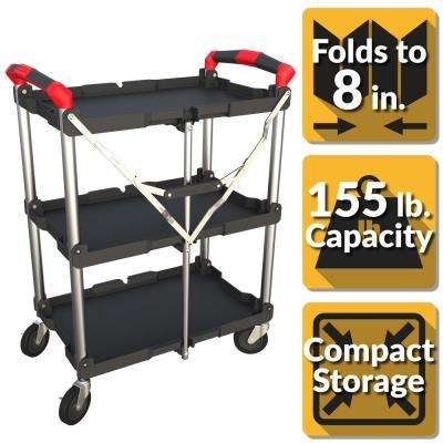 3-Shelf Collapsible 4-Wheeled Resin Multi-Purpose Utility Cart in Black/Red
