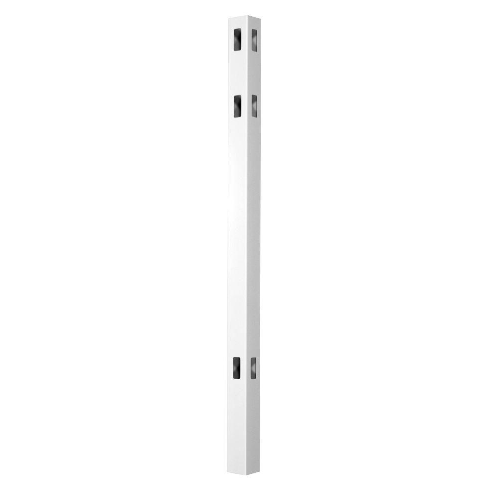 Veranda Pro Series 4 in. x 4 in. x 8 ft. White Vinyl Lafayette Spaced Picket Routed Corner Fence Post