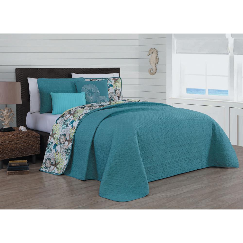 Surf City 5-Piece Blue King Quilt Set