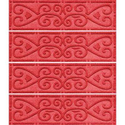 Solid Red 8.5 in. x 30 in. Scroll Stair Tread Cover (Set of 4)