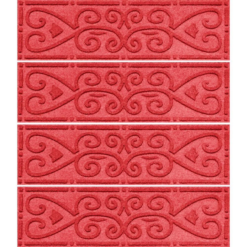 Aqua Shield Solid Red 8.5 In. X 30 In. Scroll Stair Tread Cover (