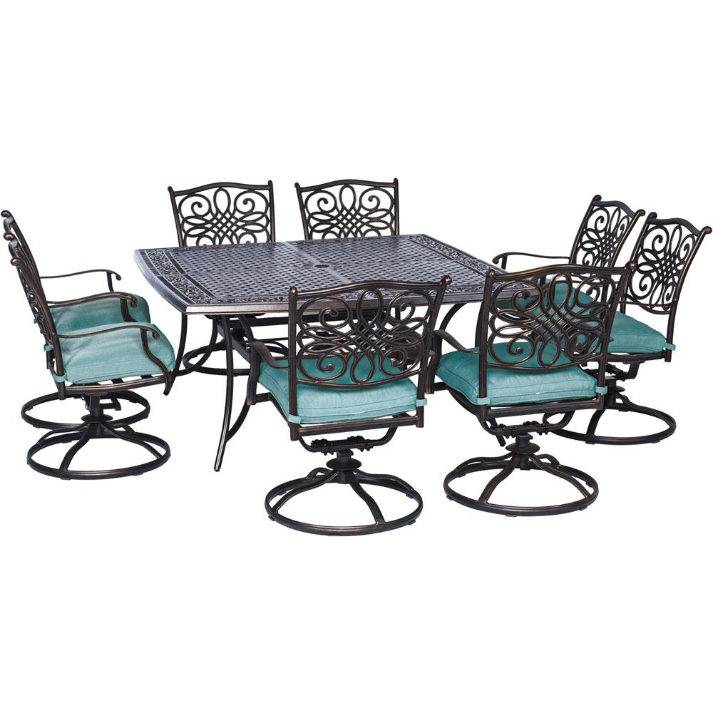Cambridge Seasons 9 Piece All Weather Square Patio Dining Set With Blue  Cushions And
