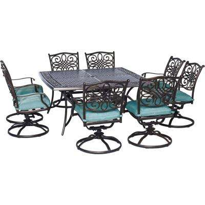Seasons 9-Piece All-Weather Square Patio Dining Set with Blue Cushions and 8 Swivel Dining Chairs