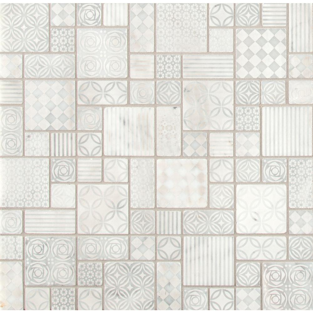 Tetris Blanco Pattern 11.81 in. x 11.81 in. x 10 mm