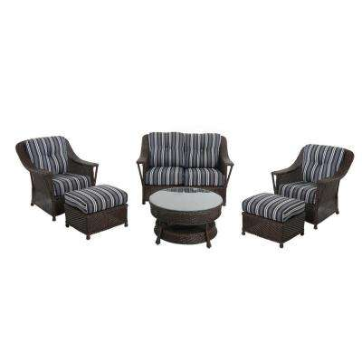 Nantucket 6-Piece Wicker Patio Chat Set with Blue Stripe Cushions